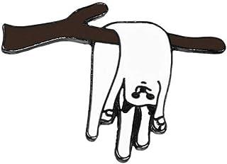 Divertidos gatos blancos Esmalte Pin Rama Hoja Plátano Gato Animales Broche Mujeres Hombres Pines de solapa Denim Jeans In...