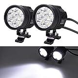 Justech 2pcs 36W Phare Moto Feux Additionnels LED Phares Avant Moto Anti Brouillard Projecteur Spot LED avec Commutateur pour 12-80V Véhicules Motos Vélos Voitures Camions Bateau