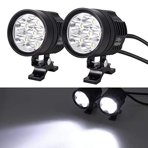 2 x 6W Motorrad Scheinwerfer mit Schalter Netzkabel Motorrad vorne Scheinwerfer LED Nebelscheinwerfer Lampe 12-24V für Fahrzeuge wie Motorräder, Fahrräder, Autos, LKW, Boot