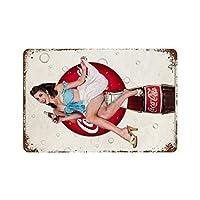 コカコーラピンナップガールズ さびた錫のサインヴィンテージアルミニウムプラークアートポスター装飾面白い鉄の絵の個性安全標識警告アニメゲームフィルムバースクールカフェ40cm×30