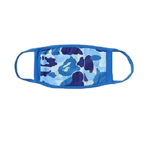 Men's Multi Usage Face Cover Up, Cotton Monkey Camo Shark Mouth Teeth Printed, Light Blue Camo, Regular