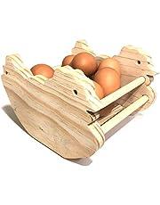 Huevera Rústica de Madera de Pino- Porta Huevos para Cocina - Artesanal y Hecho a Mano Con Forma de Gallina