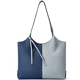 BOSTANTEN Sac à Main Cuir Véritable Femme Sac Bandoulière Sacs portés épaule Grande Sac Tote Sac Cabas Bleu