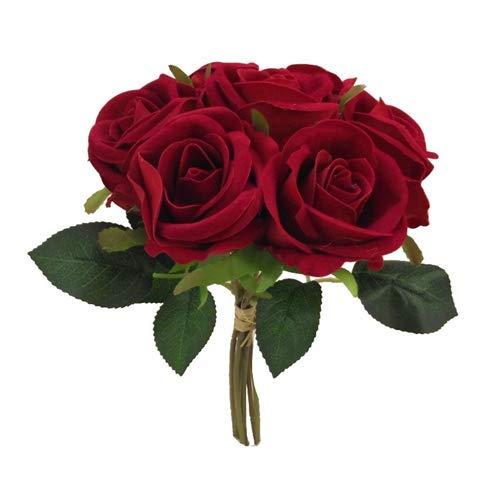 FS - Ramo de Rosas Artificiales de Terciopelo Rojo con 7 Cabezales de Flores Grandes (25 cm)