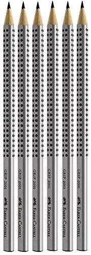Faber-Castell 117697-6 potloden GRIP 2001, hardheid: HB, schachtkleur: zilver