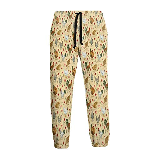 Hangdachang Hand Drawn Roosters and Flowers Men's Jogger Pants Comfortable Sweatpants with Pockets 3XL