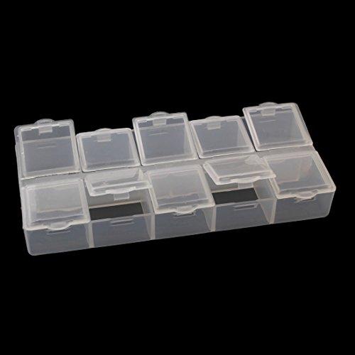 4stk Perlenbox mit 10 Fächer Sortierbox Sortierkiste Kunststoff Container Materialbox Sortimentskasten Sortimentsboxen für die Schmuck Perlen Nailart Kosmetik und andere Mini Waren Schmuckschatulle
