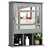 Tangkula Mirrored Medicine Cabinet, Bathroom Wall Mounted Storage Cabinet with Adjustable Shelf and 3 Open Compartments (Gray)