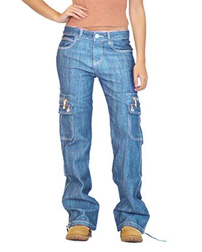 ORANDESIGNE Jeanshose Damen Cargohose Militär Jeans Hosen Weite Beinhosen Freizeithose Sporthose Schlaghose Outdoorhose Arbeitshose A Hellblau L