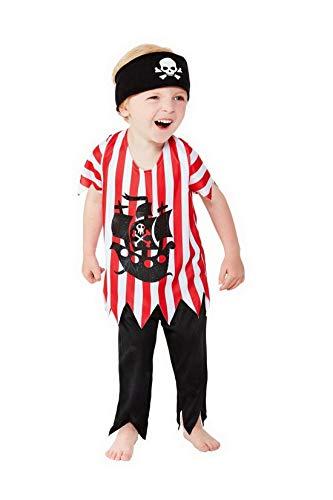 Confettery - Jungen Kinder Piraten Kostüm mit Hose, Oberteil und Haarband, perfekt für Karneval, Fasching und Fastnacht, 80-92, Rot