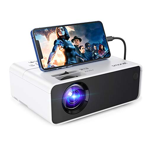 1080p Projector for Outdoor Movie,SMONET Portable Movie Mini Projector HD Supported for Outdoor Indoor Use,Home Theater Video LED LCD Projector Compatibale with TV Stick Laptops PC PS4 HDMI USB HML