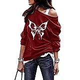 Writtian Disfraz de Halloween de camiseta larga para mujer, parte superior con hombros descubiertos, camiseta de manga larga, blusa, túnica, 46#rojo, S