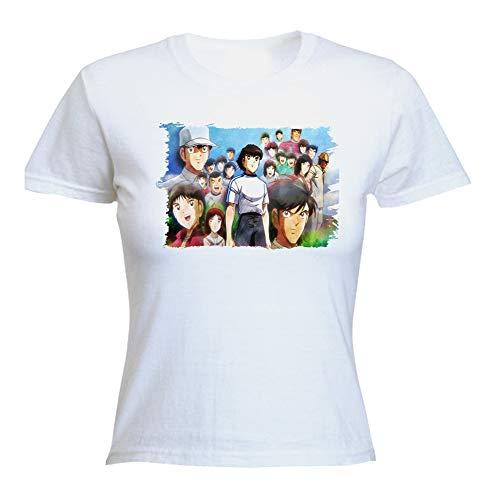 MERCHANDMANIA Camiseta Mujer Futbol Oliver Y Benji Serie Woman Tshirt