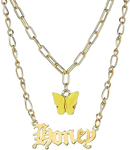 ZHIFUBA Co.,Ltd Necklace Customize Name Letter Necklaces for Women Layered Butterfly Chain Word Number Pendant Necklace Vintage Jewelry Gift Girls Boys