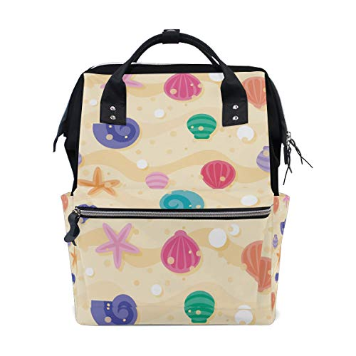 Alinlo coloré Beach Coque Motif sac à langer Diaper Sac à dos avec sangles de poussette multifonction Grande capacité momie Sac fourre-tout Sacs pour voyage Baby Care