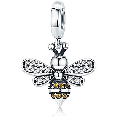 DEAD 925 Sterling Silver Ape dell'insetto del Pendente Fascino con la Collana Bracciale Adatto zirconi Fai da Te Perline