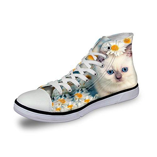 Zapatillas de lona para mujer, color blanco, diseño de flores y gatos, para senderismo, informal, planas, con ojos azules, color, talla 36 EU