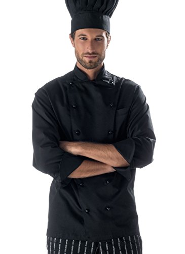 Isacco Giacca da Cuoco Nera - Slim (M)