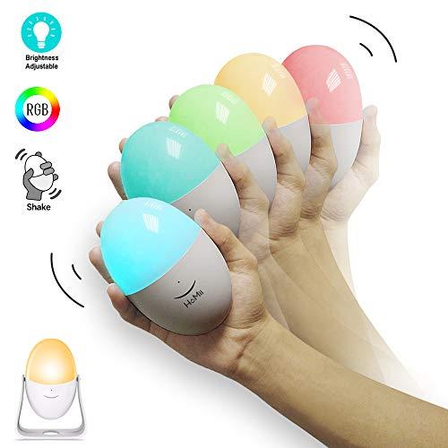 HoMii LED Nachtlicht Kind, Wiederaufladbare USB Kinderlampe, Schütteln Verfärbung, dimmbar, Touch Control, Farbwechsel RGB & Weiß & Warmlicht