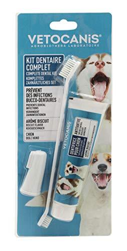 VETOCANIS Kit hygiène dentaire pour Chien, Triple Actions, avec Brosse à dent, Dentifrice, et Brosse de Massage, Goût Biscuit BIO000068