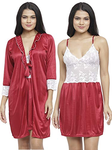 N-Gal Women's Satin Floral Pattern Embroidered Knee Length Nighty Gown...