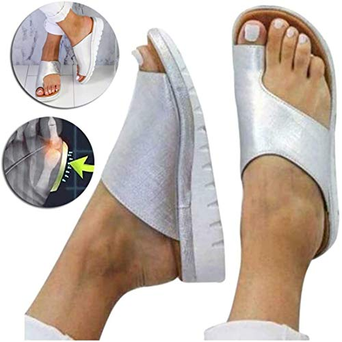 EVR Sandalias Correctoras Mujeres Zapatos Ortopédicos Juanete Corrector Cómoda Plataforma Cuña Casuales De Las Señoras del Dedo Gordo del Pie Corrección Sandalias,Plata,41