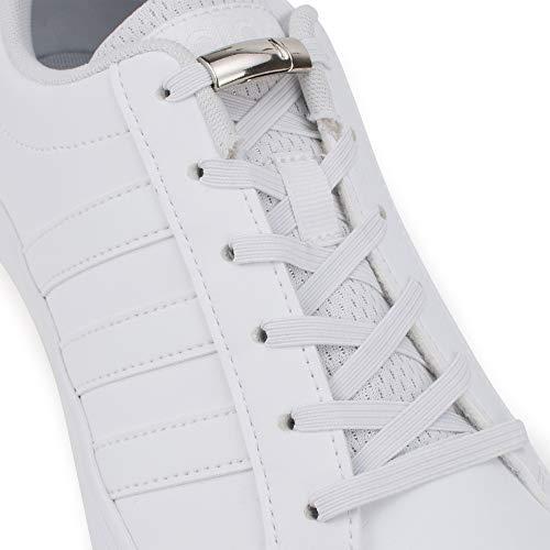 SULPO Elastische Gummi Schnürsenkel mit Metall-Magnetverschluss – Ohne Binden – Gummischnürsenkel – Schnürsenkelersatz, Schleifenlose Schuhbänder – Gummischnürsenkel für alle Schuhe (Weiß)
