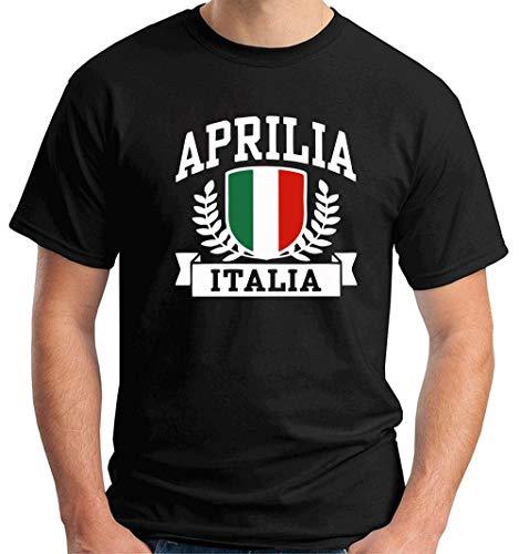 T-Shirt Mann Schwarz TSTEM0264 Aprilia Italia
