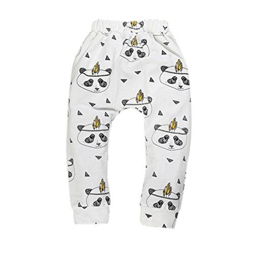 kingko® Garçons Filles Bébés Pantalons Bas Pantalon Sarouel PP Enfants Leggings (12-24 Mois, Blanc)