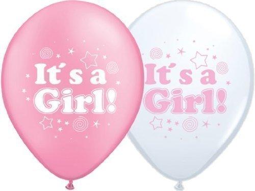 partydiscount24 Luftballons Geburt: It's a Girl (Mädchen) - Rosa, Weiß - Ø 30 cm 10 Stück