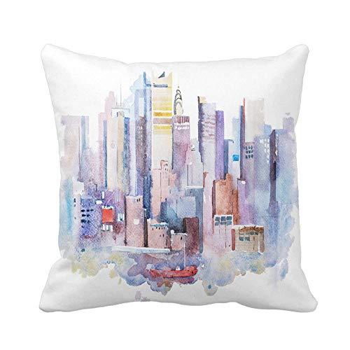 N\A Throw Pillow Cover Dibujo de Acuarela del Paisaje Urbano de Nueva York EE. UU. Manhattan Aquarelle Funda de Almohada Funda de Almohada Cuadrada Decorativa para el hogar Funda de cojín