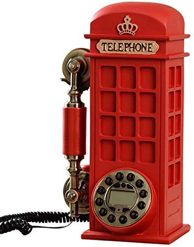 UYZ Vintage Phone Cabina de teléfono Retro Teléfono Fijo, Personalidad Creativa de Moda Hogar Teléfono Fijo Antiguo, Teléfono con botón pulsador Antiguo montado en la Pared, Rojo