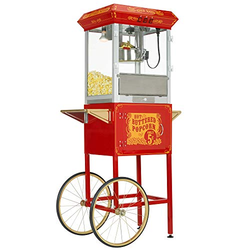 Product Image 1: Funtime FT860CR Antique Carnival-Style 8-Ounce Hot-Oil Popcorn Popper with Cart, Red