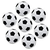 Lezed 7 Pièces Balles de Baby-Foot en Plastique 32 mm Table Soccer Foosballs Remplacement Mini Plastique Petit Football Style Table Boule Baby-Foot Noir et Blanc Ballon de Foot