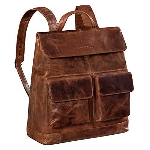 STILORD 'Drew' Zaino Cartella Vintage Pelle XL Backpack per Uomo Donna Bolso Zaino Porta PC 16 Pollici Zaino da Viaggio Borsa Università Vero Cuoio, Colore:kara - cognac