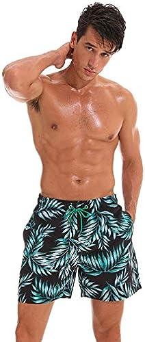 CZYHP Swim courtes Pour des hommes Swimming courtes Board courtes Hommes Board plage courte Quick Dry Pour des hommes Surf maillot de bain with Liner XXXL noir Bamboo Leaves