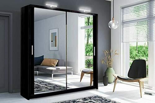 Moderno armadio per camera da letto a 2 e 3 specchi completi Milano 6 misure e 4 colori (100 cm/120 cm/150 cm/180 cm/203 cm/250 cm) (bianco/nero/grigio/rovere) (nero, 180 cm)