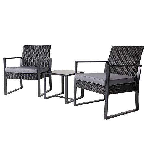 SVITA LOIS Poly Rattan Sitzgruppe schwarz Gartenmöbel Sessel Bistro-Set Tisch Metall-Garnitur