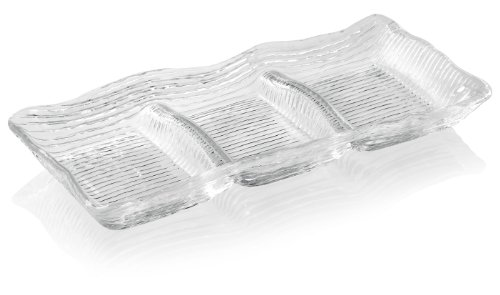 IVV Glassware All In One 3-Section Rectangular Appetizer Dish, 12-1/2 by 5-1/2-Inch, Clear