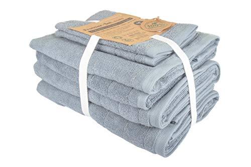BLUE MOON Toallas orgánicas – Juego de toallas de mano de algodón orgánico 100 % natural, cero waste, sostenible y libre de plástico, suaves, de secado rápido y lavable a máquina, color azul ahumado