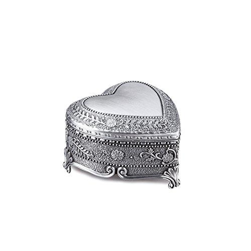 Feyarl Vintage Jewelry Box Heart Shape Trinket Box Ring Earrings Treasure Organizer Box Christmas Brithday Gift