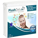 Crib Mattress Protector Waterproof – Bamboo Quilted Ultra Soft White Terry Fitted Sheet Style (Crib)