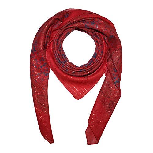 Superfreak Baumwolltuch - Indisches Muster 1 - rot Lurex gold - quadratisches Tuch