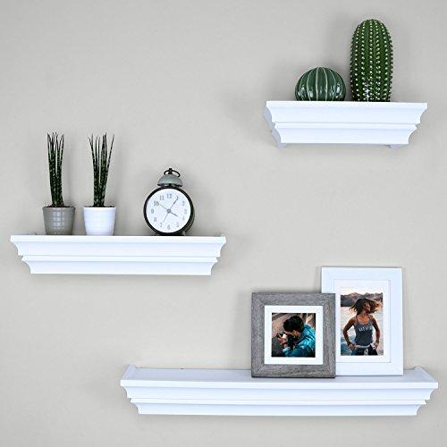 Balluccia - Juego de 3 estantes y borde de pared, color blanco y negro, Blanco