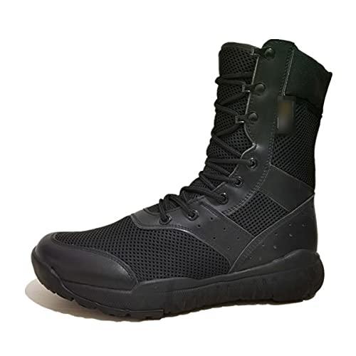 Ultraligero de gran tamaño zapatos de senderismo al aire libre impermeable botas tácticas duraderas hombres zapatos deportivos transpirable, Malla Negro, 47 EU