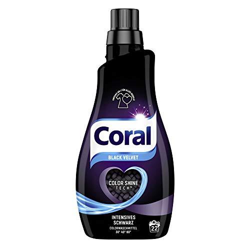 Coral Waschmittel flüssig für intensives Schwarz – 22 Waschladungen hygienisch reine Wäsche, Schutz vor Ausbleichen – Black Velvet Flüssigwaschmittel ( 1 x 1,1 L)