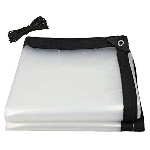 QIAOH Lona Impermeable Transparente 6x9m, Lona Impermeable con Ojales, Tela Impermeable Cubierta Engrosamiento Coche Hebilla De Aluminio Polietileno