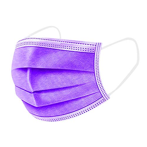 20/40/60/90 Pcs Disposable Oral Covers,4 Colors 3-ply Filter Unisex Adult Oral Protection Outdoor Dustproof Cover High Filtration and Ventilation Security (Purple, 90pcs)