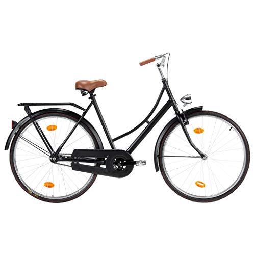 vidaXL Bicicleta Holandesa Cuadro Mujer Países Bajos Cicloturismo Crucero Clásica Ciudad Femenina Trabajo Escuela Viajes Rueda 28 Pulgadas 57 cm