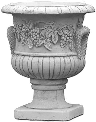 gartendekoparadies.de Großes Blumengefäß Motiv Weintrauben Pflanzgefäß Blumentopf Steinguss frostfest